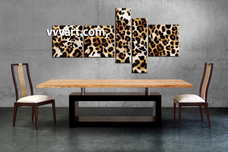 animal  pictures, dining room wall decor, 5 Piece Wall Art, wild multi panel art, leopard art