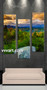 living room Art, 3 piece canvas wall art, nature multi panel canvas, forest pictures, mountain huge canvas art