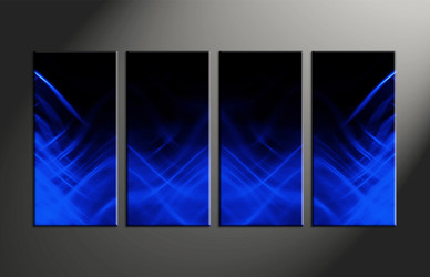 Home Decor, 4 piece canvas art prints, abstract multi panel art, blue large canvas, abstract group canvas