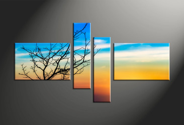 home decor, 4 piece large pictures, landscape large canvas , sunset huge pictures, sunrise artwork