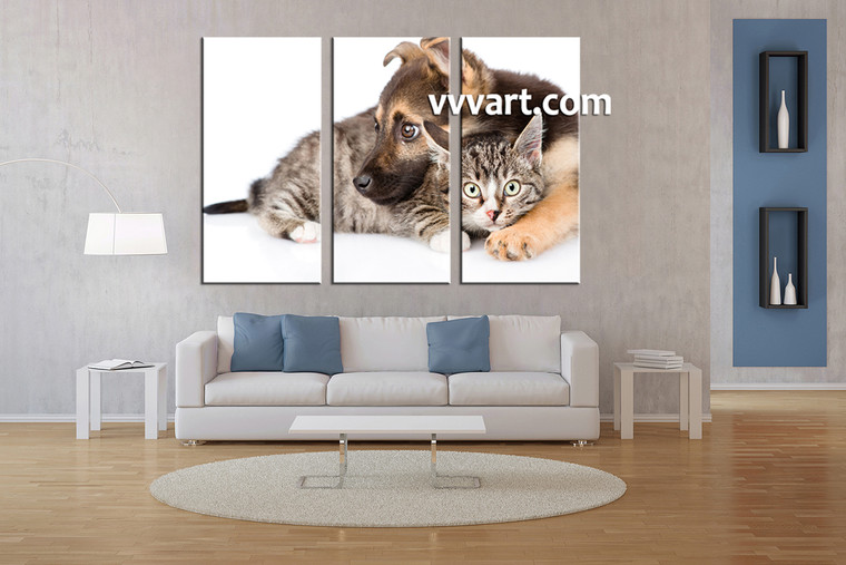 living room Art, 3 piece canvas wall art, wildlife decor, scenery artwork, animal large canvas