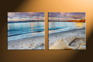 home decor, 2 piece canvas art prints, ocean multi panel art, scenery large canvas, sand art
