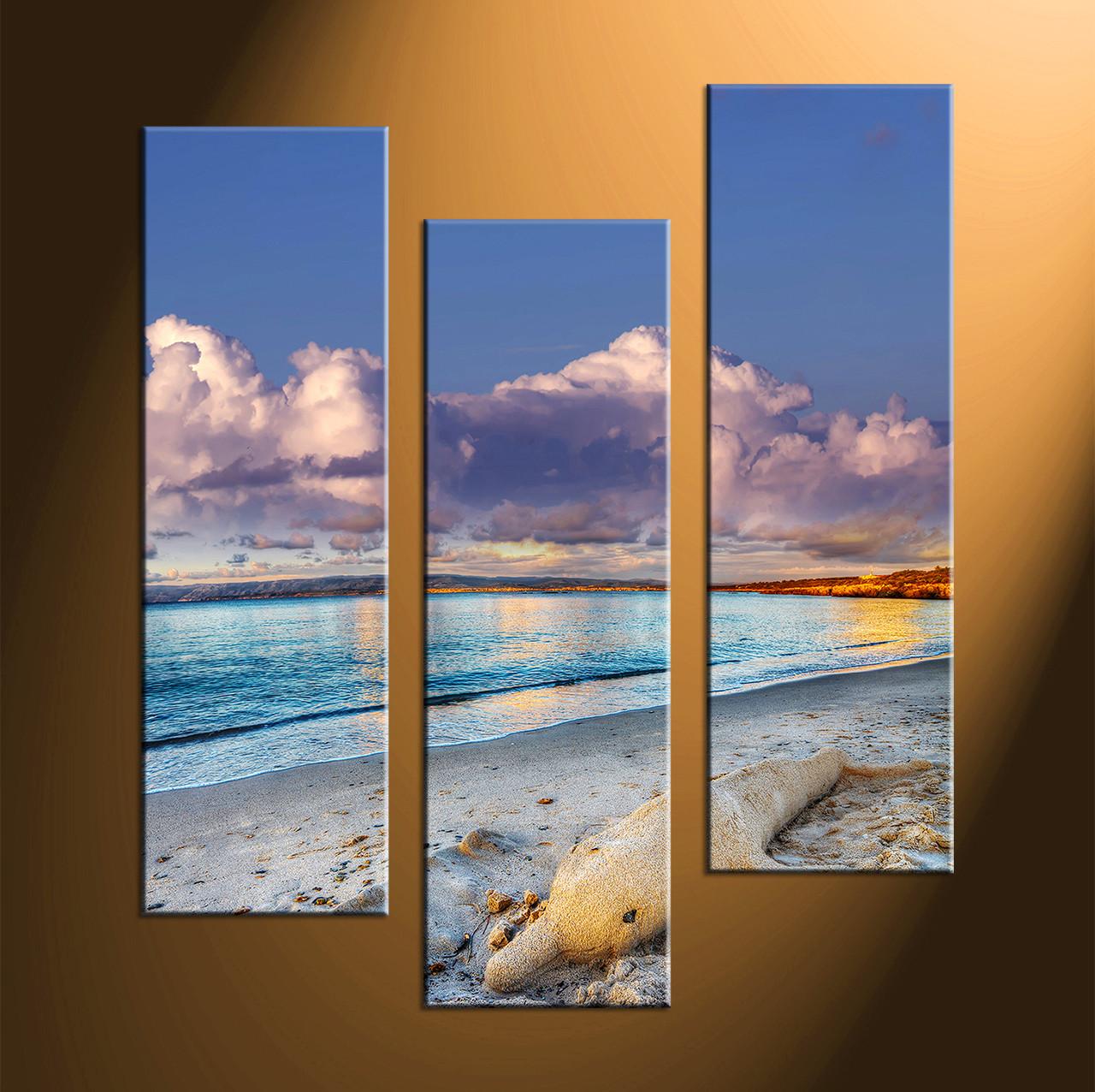 54230618f49 3 Piece Canvas Sand Blue Ocean Large Pictures