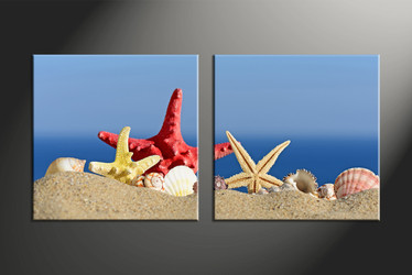 home decor, 2 piece canvas art prints, starfish artwork, shell large canvas, ocean wall decor