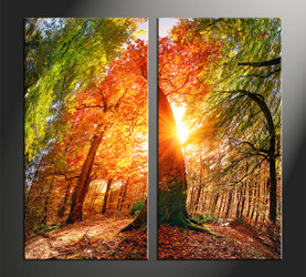 home decor, 2 piece canvas art prints, nature artwork, scenery large canvas, sunrise multi panel art