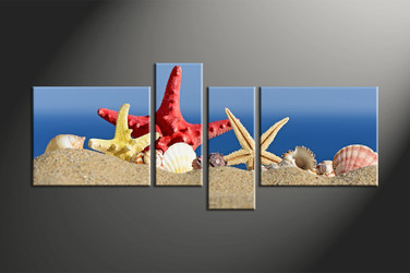 home decor, 4 piece canvas art prints, shell artwork, sand large canvas, ocean wall decor