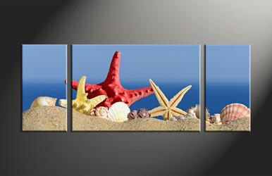 home decor, 3 piece canvas art prints, ocean artwork, red starfish large canvas, shell wall decor