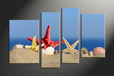 home decor, 4 piece canvas art prints, sand multi panel art, scenery large canvas, ocean art
