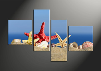 Home Decor, 4 piece canvas wall art, shell décor, scenery artwork, red starfish canvas