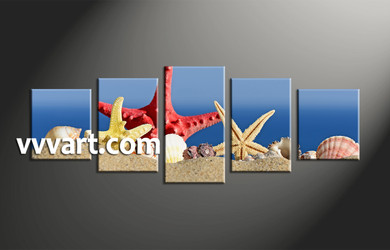 home decor, 5 piece artwork, starfish canvas art prints, ocean huge canvas art, scenery canvas photography
