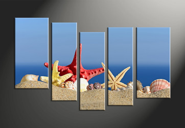 home decor, 5 piece canvas art prints, ocean art, sand large canvas, scenery photo canvas