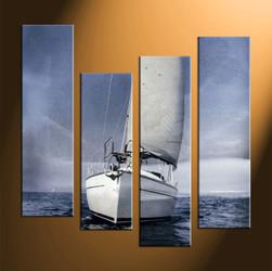 home decor, 4 piece canvas art prints, ocean multi panel art, ship large canvas, scenery photo canvas