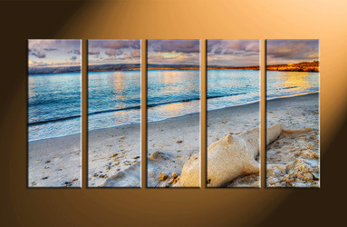 home decor, 5 piece artwork, sand canvas art prints, ocean photo canvas, scenery multi panel art