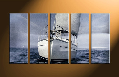 home wall decor, 5 piece canvas art prints, ship large pictures, ocean art, scenery wall art