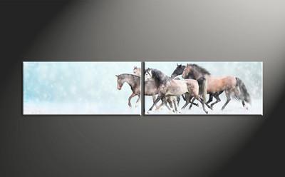 home decor, 2 piece canvas art prints, animal canvas print, horse canvas photography, snow art