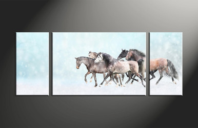 home decor, 3 piece canvas art prints, animal canvas print, horse canvas photography, snow group canvas