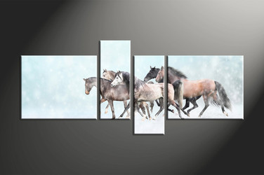 home decor, 4 piece canvas art prints, animal canvas print, horse canvas photography, snow group canvas