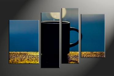 Home Decor, 4 piece canvas art prints, modern multi panel art, modern large canvas, cup artwork