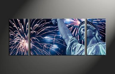 Home Decor, 3 piece canvas art prints, fireworks canvas art prints, city pictures, statue artwork