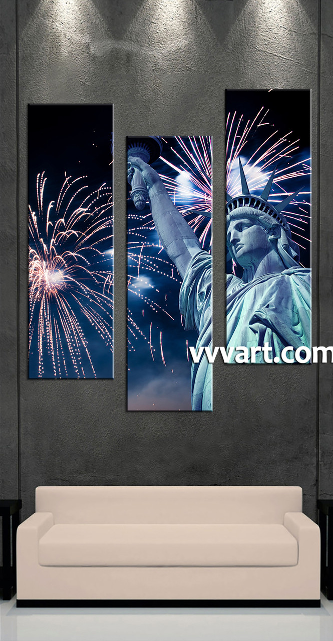 3 Home Decor Trends For Spring Brittany Stager: 3 Piece Statue Of Liberty Fireworks Blue City Photo Canvas