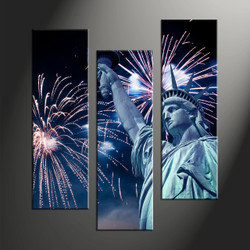 Home Wall Decor, 3 piece canvas art prints, city large pictures, crackers art, statue wall art