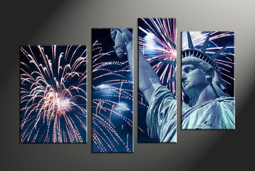 Home Decor, 4 piece canvas art prints, fireworks multi panel art, statue large canvas, city art
