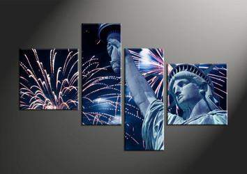 Home Decor, 4 piece canvas art prints, city canvas wall art, statue artwork, fireworks art