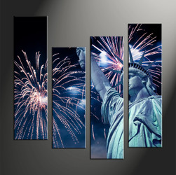 Home Decor, 4 piece canvas art prints, city canvas wall art, statue artwork, fireworks large canvas