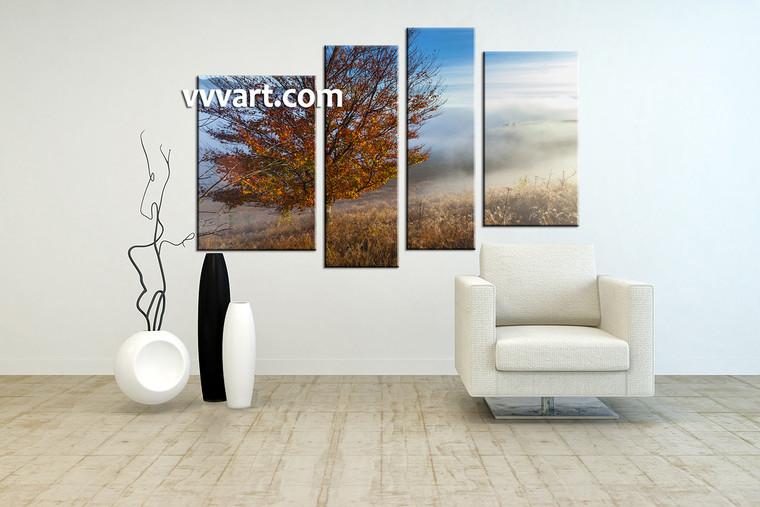 living room artwork, 4 piece pictures , forest huge pictures, landscape artwork, nature large canvas