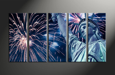 Home Decor, 5 piece canvas art prints, statue canvas print, city canvas photography, fireworks art