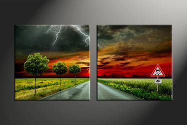 home decor, 2 piece canvas art prints, signboard canvas art prints, pathway huge canvas art, scenery wall art