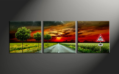 home decor, 3 piece canvas art prints, scenery artwork, sunset large canvas, pathway wall decor