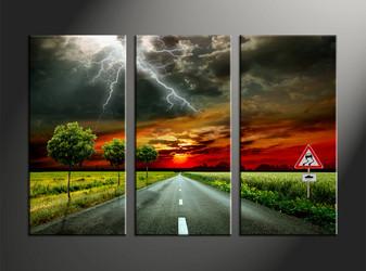 home decor, 3 piece canvas art prints, landscape artwork, pathway large canvas, scenery artwork