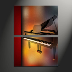 home decor, 2 piece canvas art prints, music canvas art prints, scenery huge canvas art, piano canvas wall art
