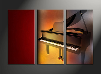 home decor, 3 piece canvas art prints, piano artwork, music large canvas, scenery wall décor