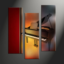 home decor, 3 piece canvas art prints, piano decor, music large pictures, scenery group canvas