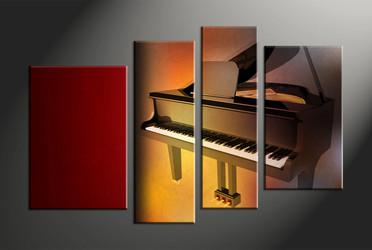 home decor, 4 piece canvas art prints, piano multi panel art, scenery large canvas, music art