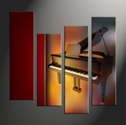 home decor, 4 piece canvas art prints, music multi panel art, piano large canvas, instrument art