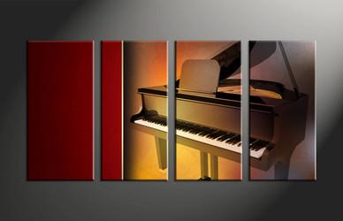 home decor, 4 piece canvas art prints, music multi panel art, piano art, instrument multi panel canvas