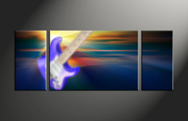 home decor, 3 piece canvas art prints, guitar artwork, music large canvas, scenery wall decor