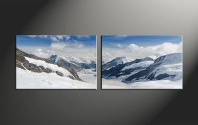 home decor, 2 piece group canvas, mountain canvas print, landscape canvas photography, snow artwork
