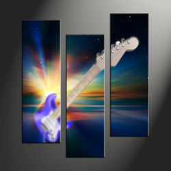 home decor, 3 piece canvas art prints, music art, guitar large canvas, instrument large pictures