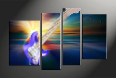 home decor, 4 piece canvas art prints, music multi panel art, guitar large canvas, modern art