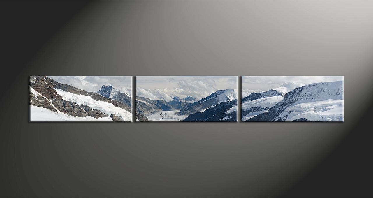 3 Piece Panoramic Canvas Prints, Snow Mountains White Landscape Art