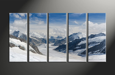 5 Piece Brown Canvas Mountain Huge Pictures