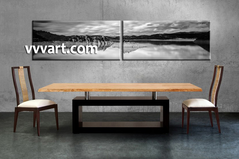 dining room art, 2 piece canvas art prints, mountain art, landscape photo canvas, black and white canvas print