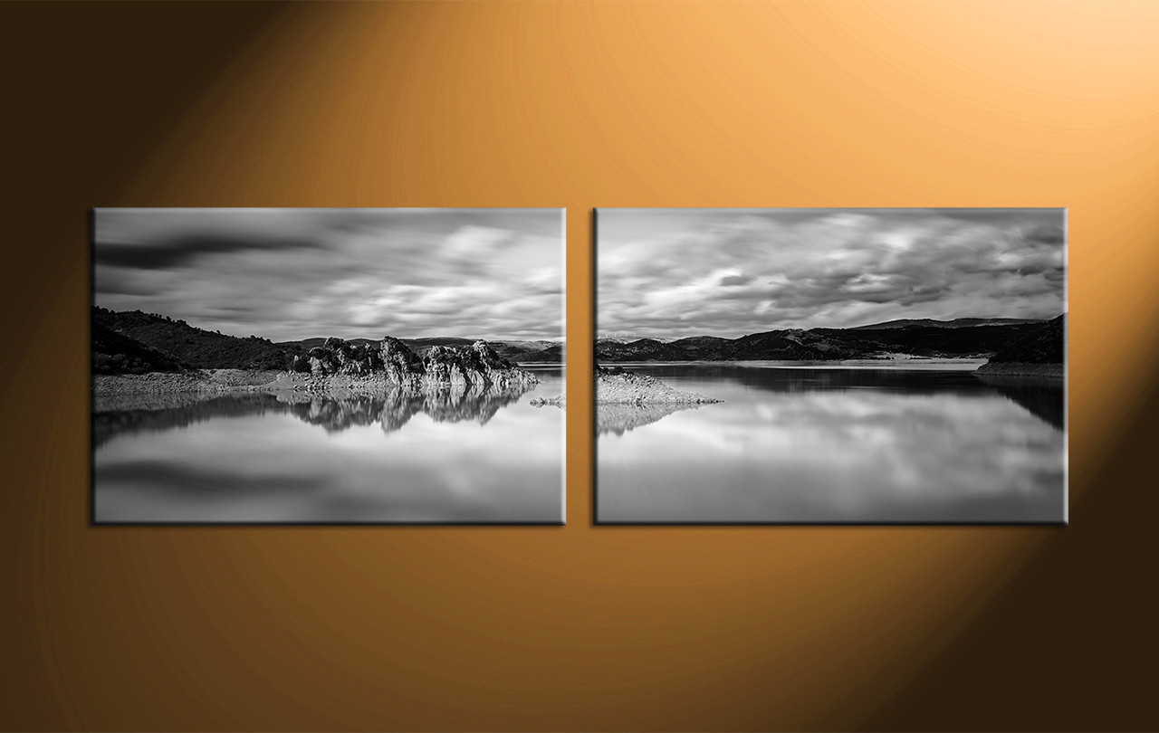 2 piece canvas black and white ocean picturespanoramic decorocean canvas artbeach canvas art