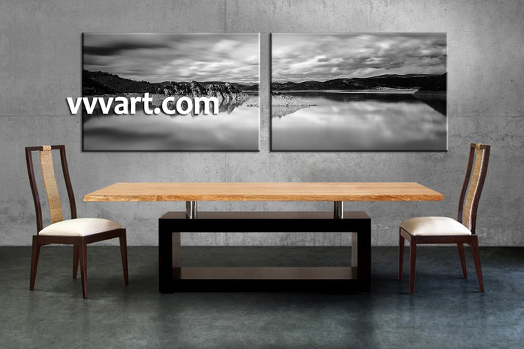 dining room art, 2 piece canvas art prints, landscape canvas art prints, black and white huge canvas art, mountain canvas wall art