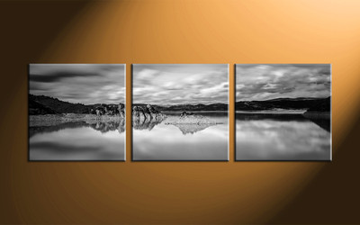 home decor, 3 piece canvas art prints, landscape canvas wall art, black and white huge canvas art, mountain wall art