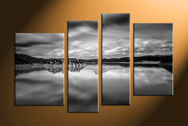 home decor, 4 piece canvas art prints, landscape canvas wall art, black and white huge canvas art, mountain multi panel canvas